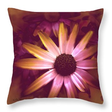 Flower Pink And Yellow Throw Pillow by Ann Powell