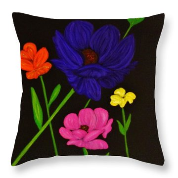 Flower Play Throw Pillow by Celeste Manning