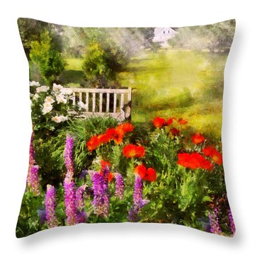 Flower - Poppy - Piece Of Heaven Throw Pillow by Mike Savad