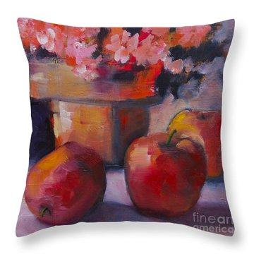 Flower Pot And Apples Throw Pillow by Michelle Abrams