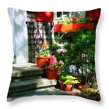 Flower Pots And Red Shutters Throw Pillow by Susan Savad