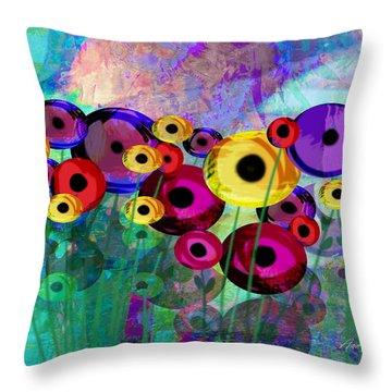Flower Power Abstract Art  Throw Pillow by Ann Powell