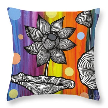 Throw Pillow featuring the painting Flower Power by Carla Bank