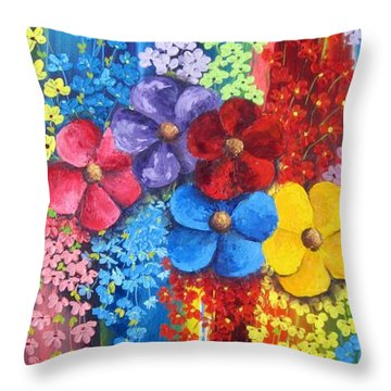 Flower Shower Throw Pillow