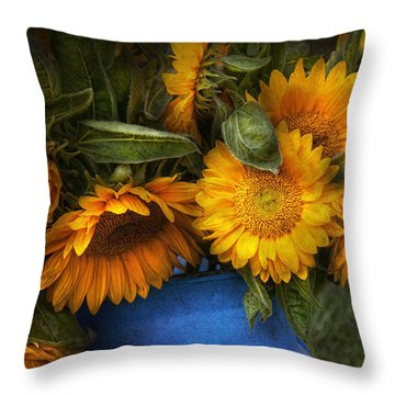 Flower - Sunflower - The Suns Have Risen  Throw Pillow by Mike Savad