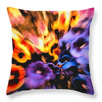 Throw Pillow featuring the mixed media Flower Trip by Carl Hunter