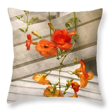 Flower - Trumpet Melodies Throw Pillow by Mike Savad