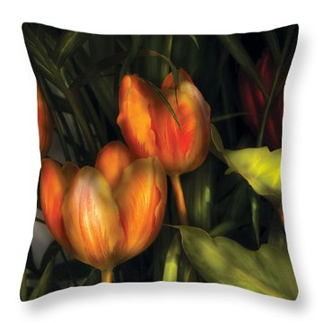 Flower - Tulip -  Orange Irene And Red  Throw Pillow by Mike Savad