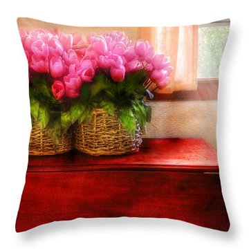 Flower - Tulips By A Window Throw Pillow by Mike Savad