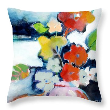Throw Pillow featuring the painting Flower Vase No.1 by Michelle Abrams