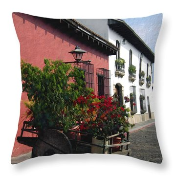 Flower Wagon Antigua Guatemala Throw Pillow