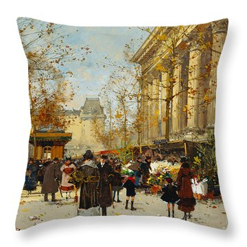 Flower Walk Throw Pillow by Eugene Galien-Laloue