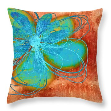 Flower  Whimsy In Blue Throw Pillow by Ann Powell