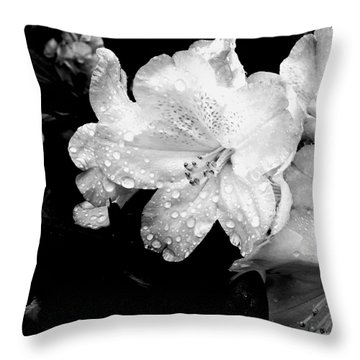 Flower With Water Drops Throw Pillow