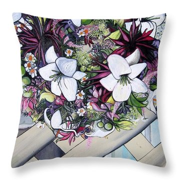Floral Wreath Throw Pillow by Mary Ellen Frazee