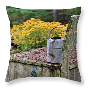Flowered Bench Throw Pillow