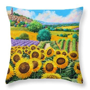 Flowered Garden Throw Pillow by Jean-Marc Janiaczyk