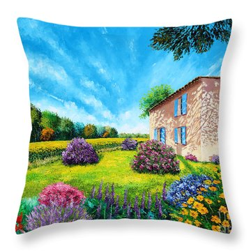 Flowered Garden Throw Pillow by MGL Meiklejohn Graphics Licensing