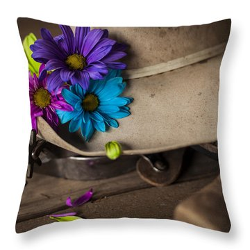 Flowered Hat Throw Pillow by Amber Kresge