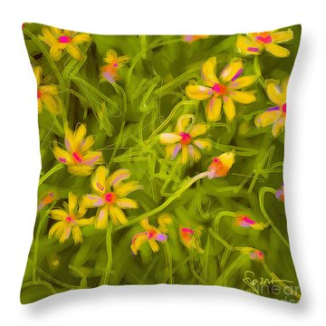 Throw Pillow featuring the painting Flowerfield by Go Van Kampen