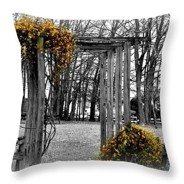 Throw Pillow featuring the photograph Flowering Archway by Tara Potts