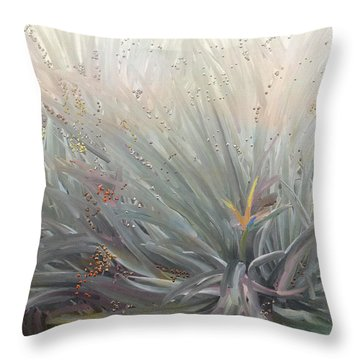 Flowering Bushes In The Fog Throw Pillow by Angela A Stanton