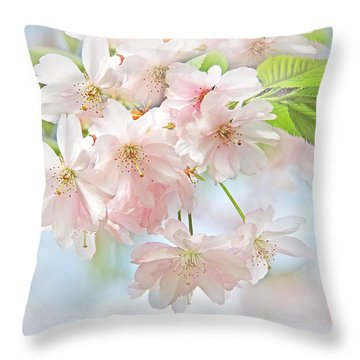 Throw Pillow featuring the photograph Flowering Cherry Tree Blossoms by Jennie Marie Schell