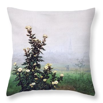 Flowering Chrysanthemum With Worker Throw Pillow by Leon Bonvin