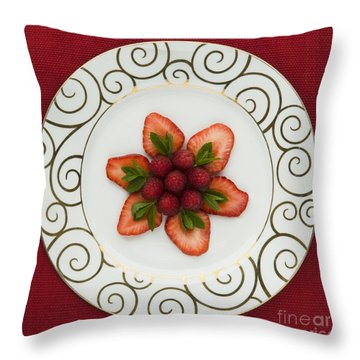 Flowering Fruits Throw Pillow by Anne Gilbert