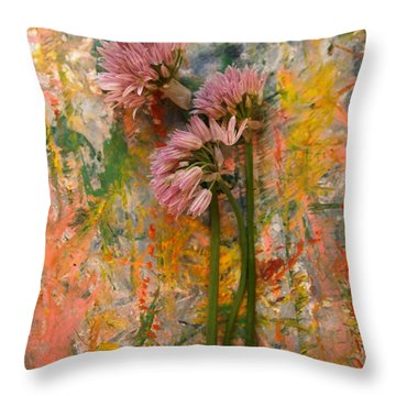 Flowering Garlic Throw Pillow