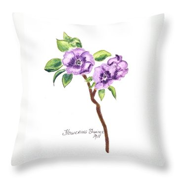 Flowering Quince Throw Pillow by Marsha Heiken