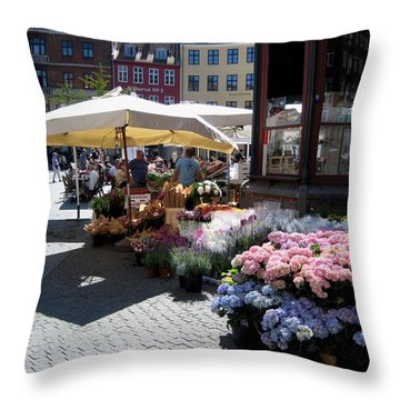 Throw Pillow featuring the photograph Flowermarket by Susanne Baumann