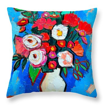 Flowers And Colors Throw Pillow