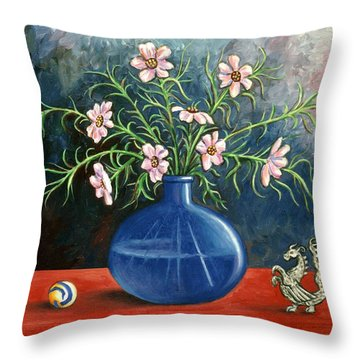 Flowers And Dragon Throw Pillow by Linda Mears