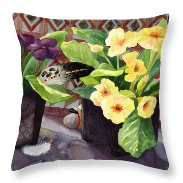 Flowers And Eagle Feathers Throw Pillow
