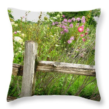 Flowers And Fences Throw Pillow by Marilyn Smith