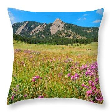 The Flatirons Colorado Throw Pillow