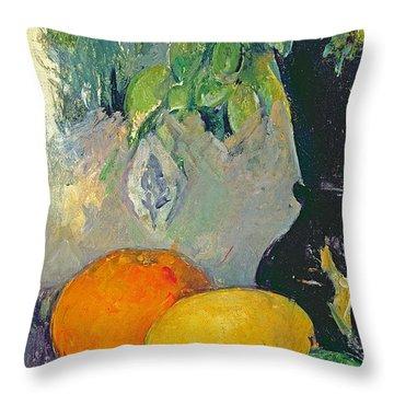 Flowers And Fruits Throw Pillow by Paul Cezanne