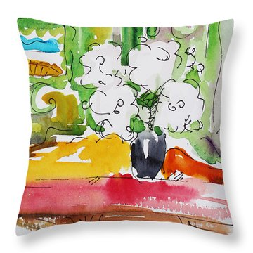 Throw Pillow featuring the painting Flowers And Green Wall by Becky Kim