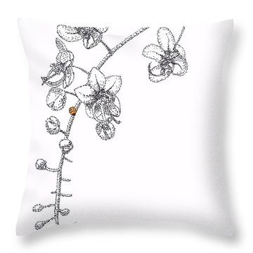 Flowers And Ladybug Throw Pillow