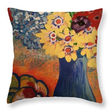 Flowers And Oranges Throw Pillow
