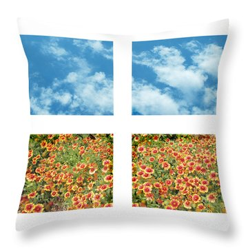 Flowers And Sky Throw Pillow by Ann Powell