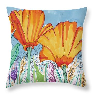 Flowers And The Sky Throw Pillow