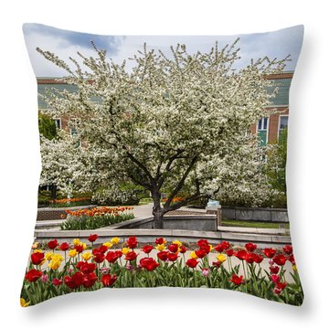 Flowers And Tree At Michigan State University  Throw Pillow
