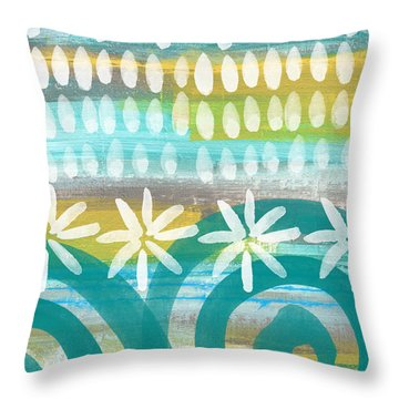 Flowers And Waves- Abstract Pattern Painting Throw Pillow by Linda Woods