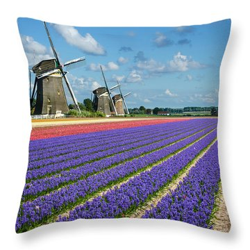 Landscape In Spring With Flowers And Windmills In Holland Throw Pillow