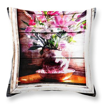 Flowers And Wood Throw Pillow