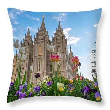 Flowers At Temple Square Throw Pillow