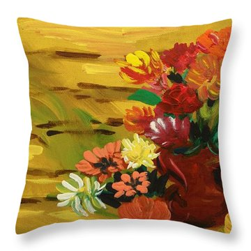 Flowers At The Side Of The House Throw Pillow by Mary Carol Williams