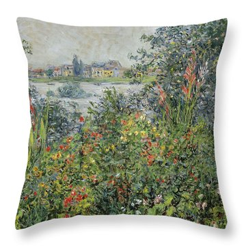 Flowers At Vetheuil Throw Pillow